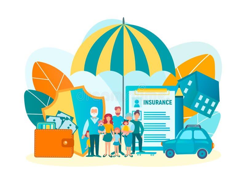 Vektorillustration der Lebensanschauung Versicherung, Eigentum, Immobilien und Einsparungen vektor abbildung
