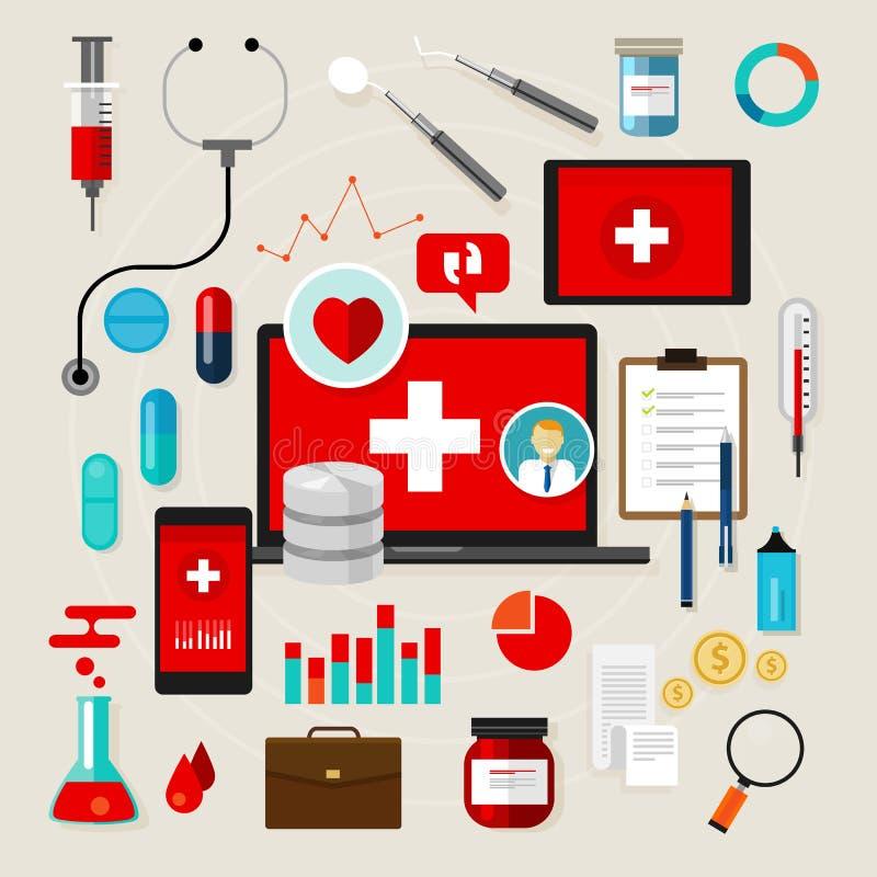 Vektorillustration der medizinischen Ikone der Gesundheit gesetzte flach lizenzfreie abbildung