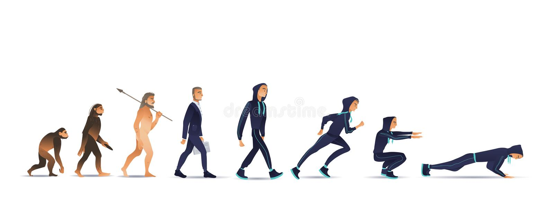 Vektorillustration der menschlichen Entwicklung vom Affen über Geschäftsmann zum Sportler vektor abbildung