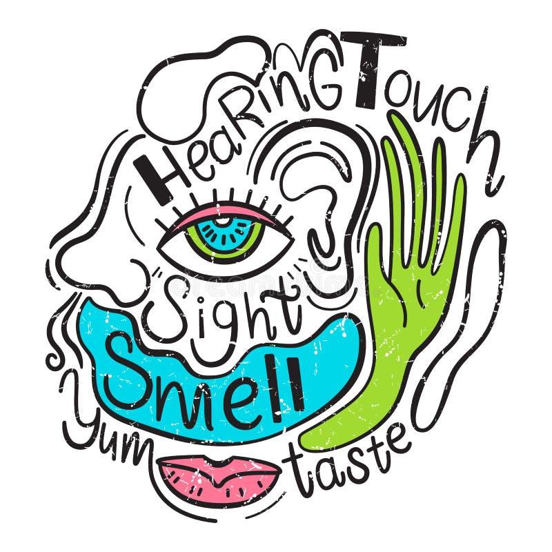Vektorillustration der 5 menschlichen Richtungen Anblick, Geschmack, Anhörung, Geruch, Note Hand gezeichnete Art lizenzfreie abbildung