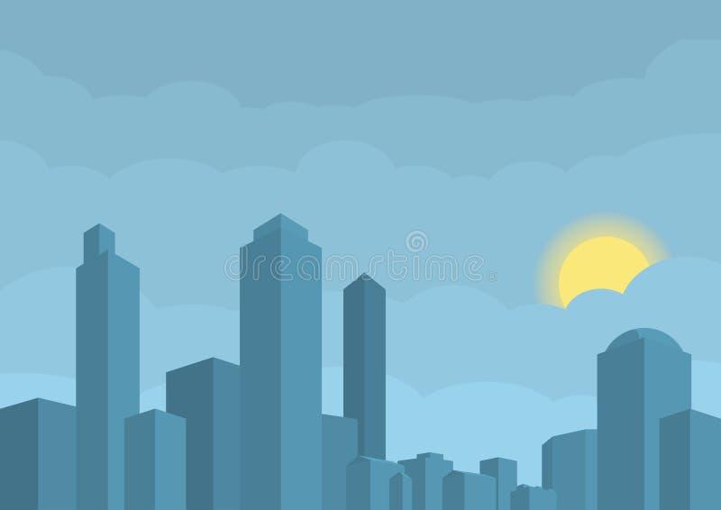 Vektorillustration der modernen Stadt Sun versteckt in den Wolken auf dem blauen Hintergrund stock abbildung