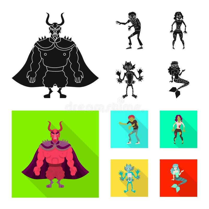 Vektorillustration der Mystiker- und Höllenikone Sammlung Vektorillustration des Mystikers und des Devilry der auf Lager lizenzfreie abbildung