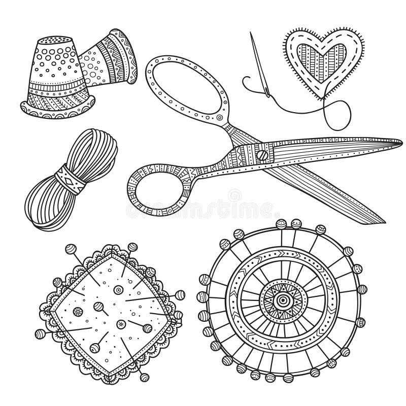 Vektorillustration der Näharbeit, nähende Werkzeuge lizenzfreie abbildung