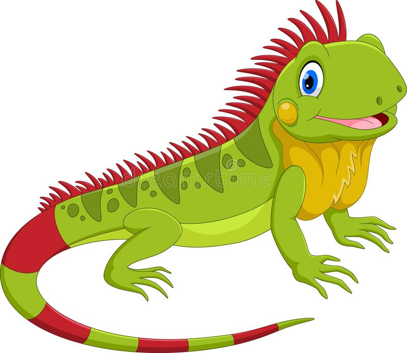 Vektorillustration der netten Leguankarikatur stock abbildung