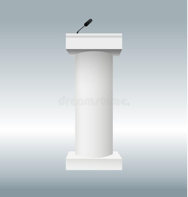Vektorillustration der Podiumtribüne mit Mikrophonen auf transparentem Hintergrund Kunstdesign-Podiumsstände lizenzfreie abbildung