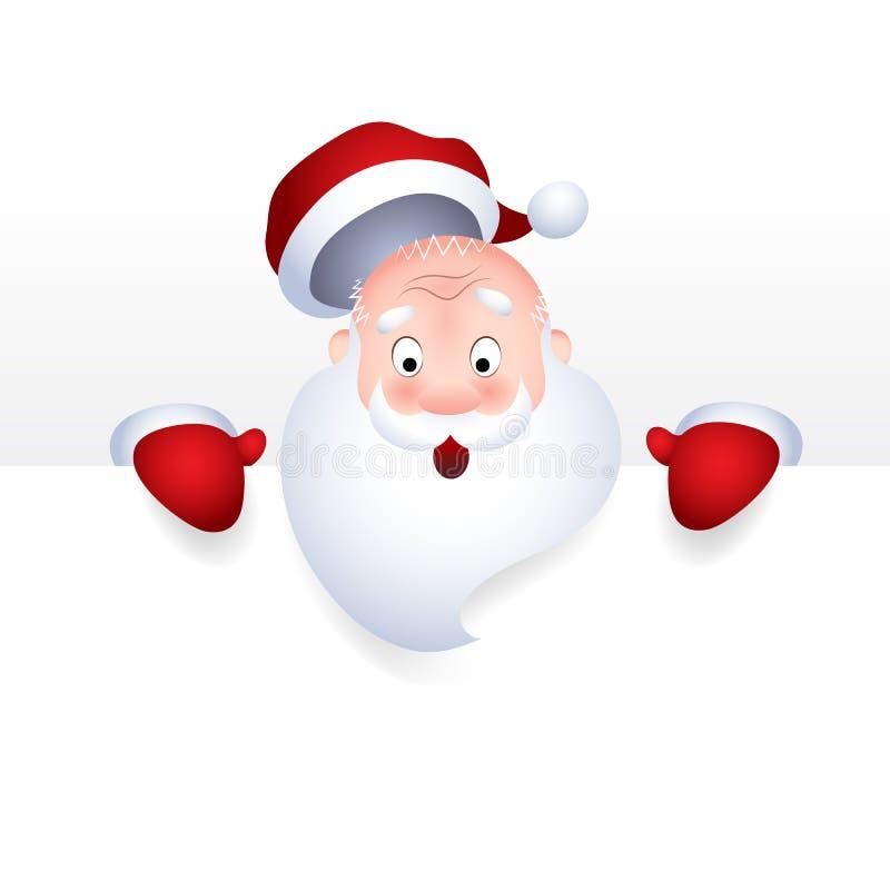 Vektorillustration der Santa Claus-Zeichentrickfilm-Figur-Gefühlüberraschung für ein leeres Zeichen, Netztitelseite stock abbildung