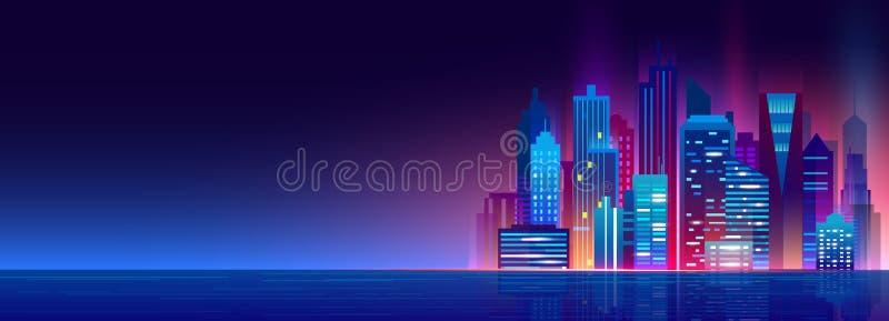 Vektorillustration der schönen Nachtstadt mit Neonlichtern und Glühenfarben Moderne Großstadt, Nacht-megapolis stock abbildung
