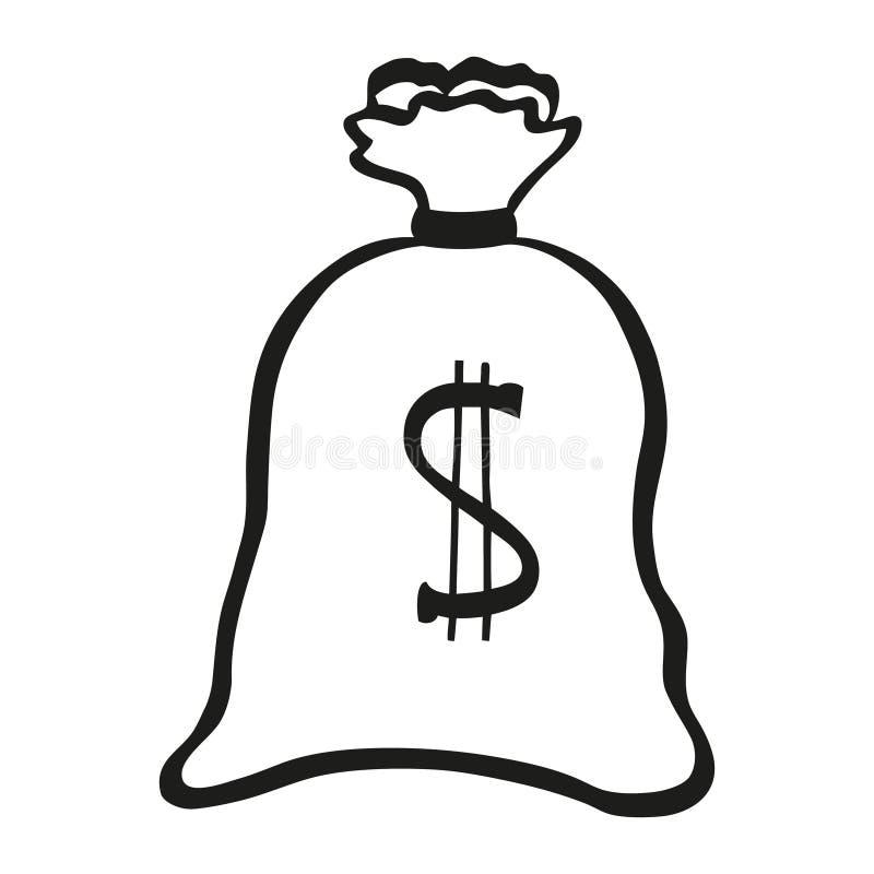 Vektorillustration der Schwarzweiss-Geldtasche lizenzfreie stockfotografie