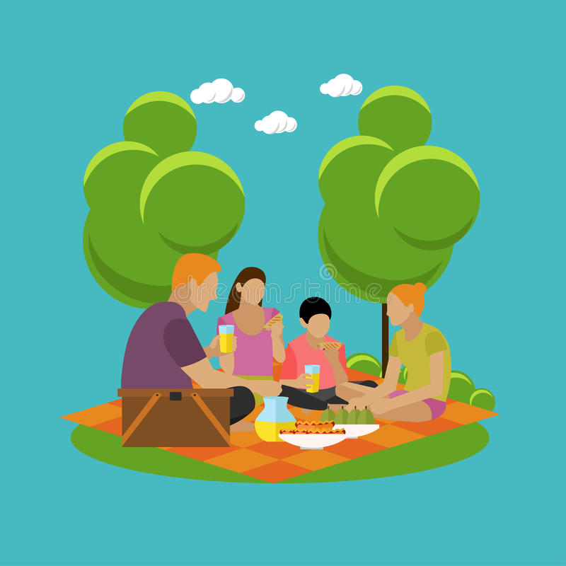 Vektorillustration der Sommererholung Familienpicknick und Kampieren in den flachen Ikonen eines Parks vektor abbildung