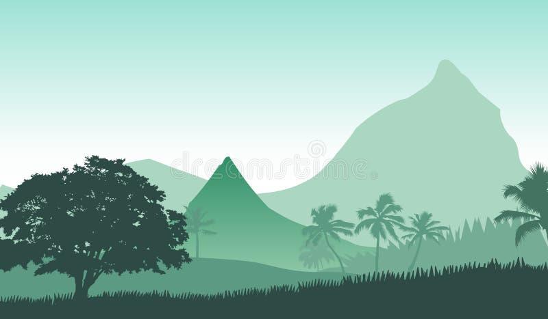 Vektorillustration der Sonnenaufgangpanoramalandschaft in den tropischen Bergen vektor abbildung