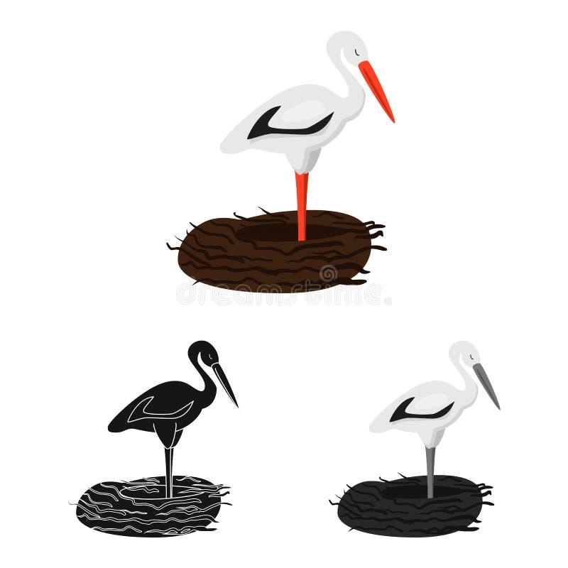 Vektorillustration der Storch- und Vogelikone Sammlung des Storchs und fliegende Vektorikone für Vorrat vektor abbildung