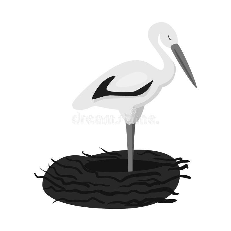 Vektorillustration der Storch- und Vogelikone Sammlung des Storchs und fliegende Vektorikone f?r Vorrat lizenzfreie abbildung