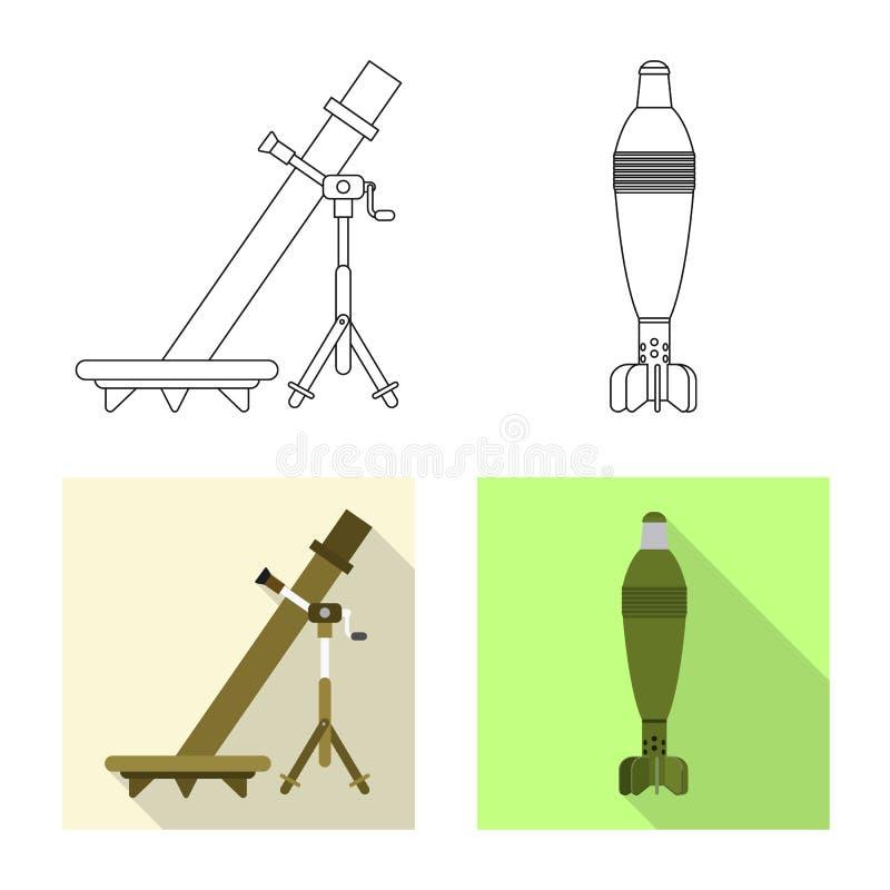 Vektorillustration der Waffen- und Gewehrikone Sammlung der Waffen- und Armeevektorikone f?r Vorrat stock abbildung