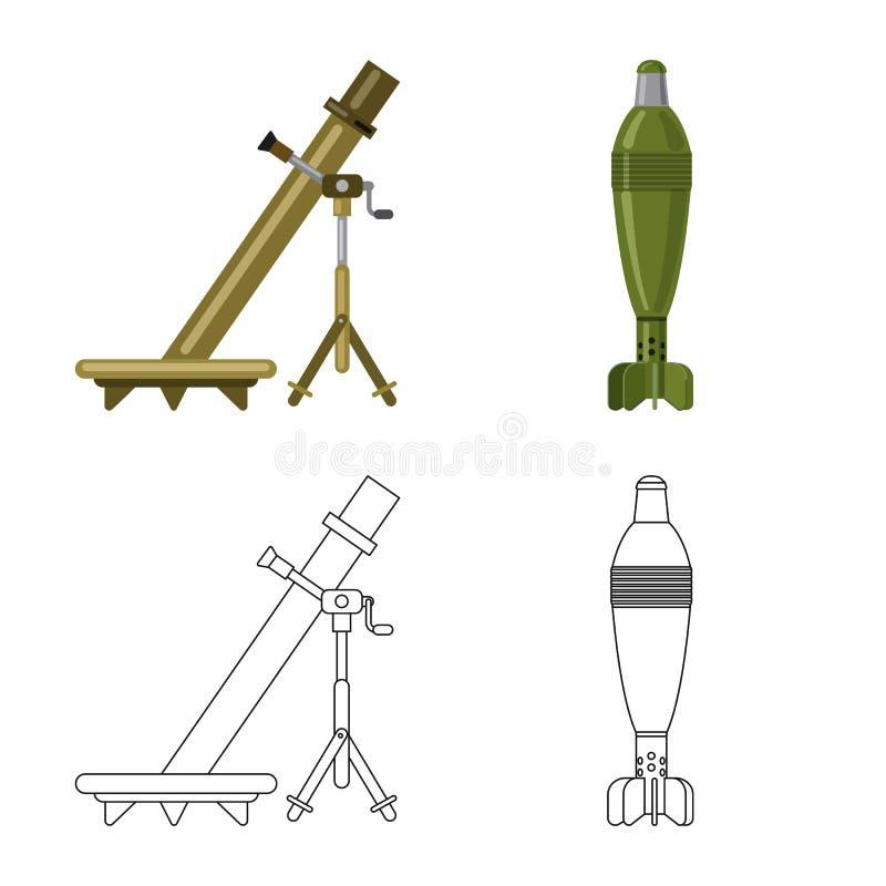 Vektorillustration der Waffen- und Gewehrikone Sammlung Vektorillustration der Waffe und der Armee der auf Lager lizenzfreie abbildung