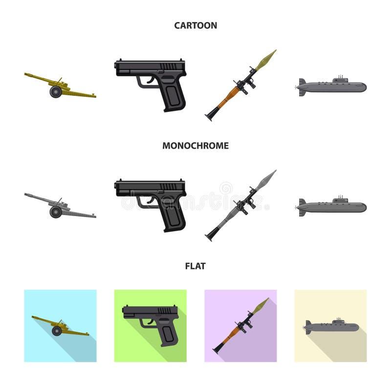 Vektorillustration der Waffen- und Gewehrikone Sammlung Vektorillustration der Waffe und der Armee der auf Lager vektor abbildung
