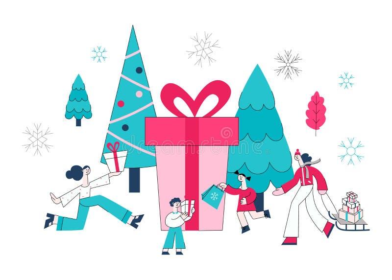 Vektorillustration der Winterurlaubverkaufsfahne mit den Leuten, die Geschenkboxen und Einkaufstaschen halten lizenzfreie abbildung