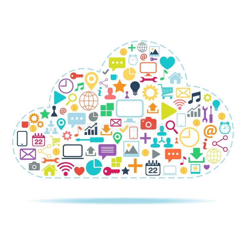 Vektorillustration der Wolke Datenverarbeitungsfarb stock abbildung