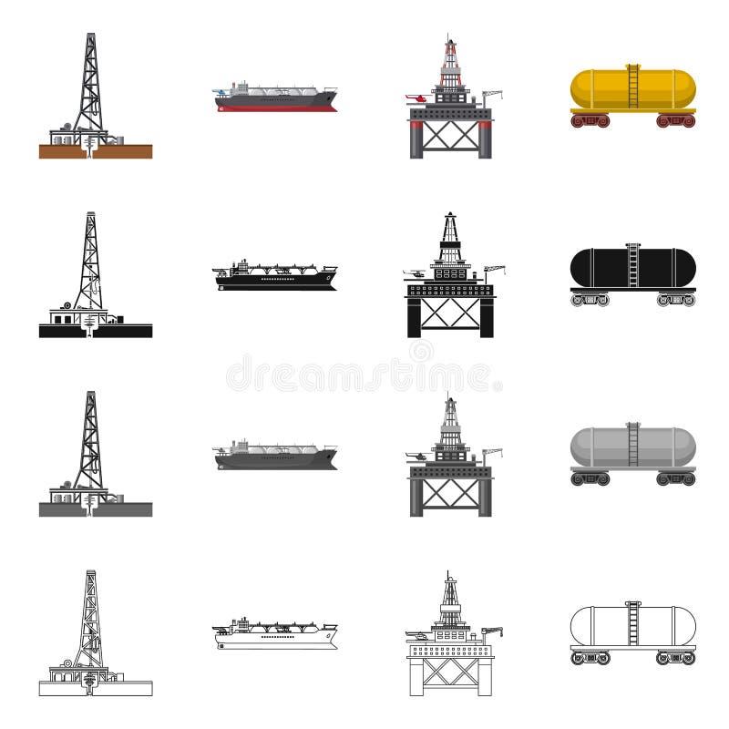 Vektorillustration des Öl- und Gaslogos Satz des Öl- und Treibstoffaktiensymbols für Netz lizenzfreie abbildung