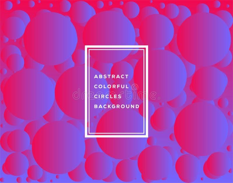 Vektorillustration des abstrakten bunten Kreisschablonenentwurfs für Hintergrund Glühende Blasen kreisen mit Steigung auf Weiß ei stock abbildung