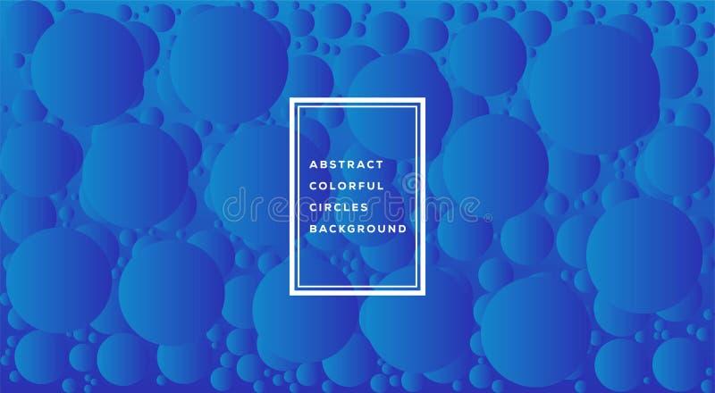 Vektorillustration des abstrakten bunten Kreisschablonenentwurfs für Hintergrund Glühende Blasen kreisen mit Steigung auf Weiß ei lizenzfreie abbildung