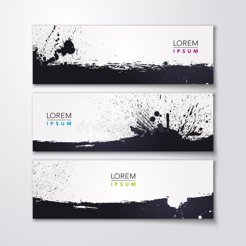 Vektorillustration des abstrakten Design-Fahnensatzes des Spritzens drei mit Kalligraphiebürsten-Anschlagelementen stock abbildung
