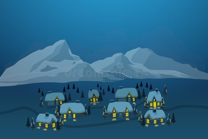 Vektorillustration des alten Stadtdorfs mit Schnee auf Dachspitze und des Eisbergs am Hintergrund in der Wintersaison lizenzfreie abbildung