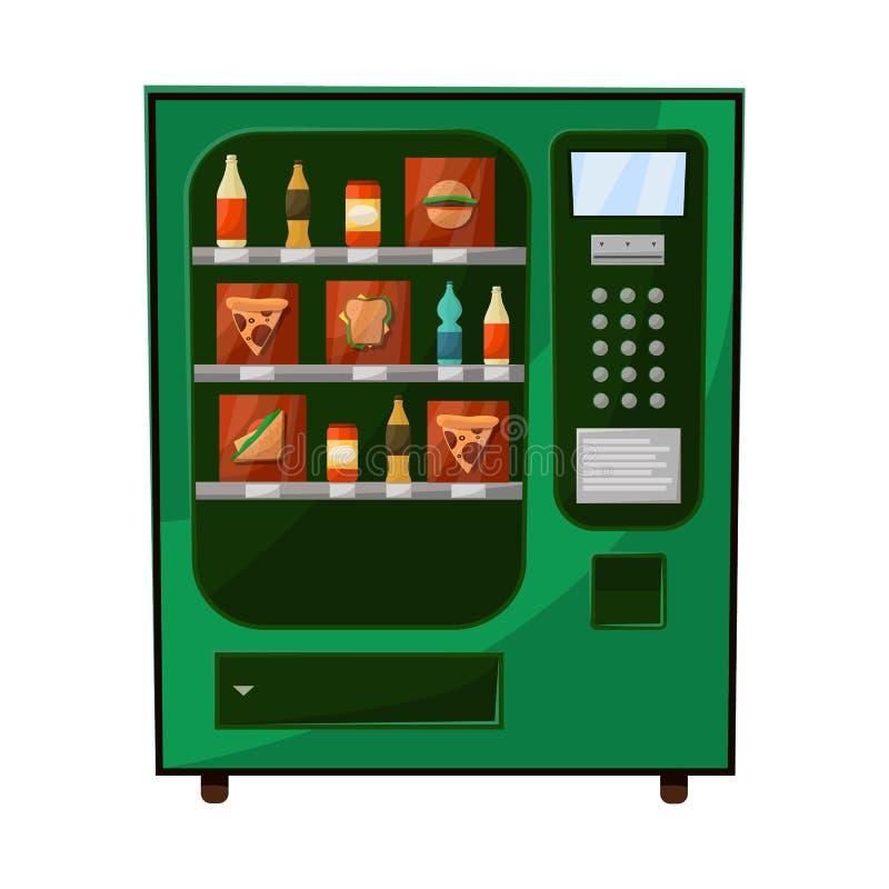 Vektorillustration des Automat- und Maschinenlogos Stellen Sie vom Automat- und Bonbonaktiensymbol für Netz ein stock abbildung