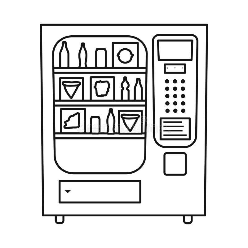 Vektorillustration des Automat- und Maschinenzeichens Stellen Sie von der Automat- und Bonbonvektorikone für Vorrat ein stock abbildung