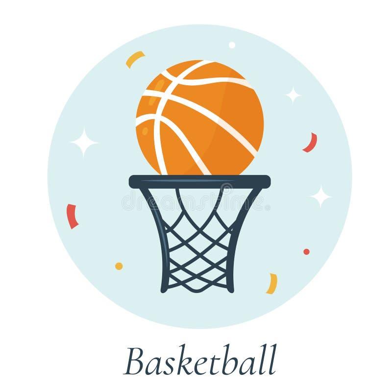 Vektorillustration des Basketballballs und -korbes stock abbildung