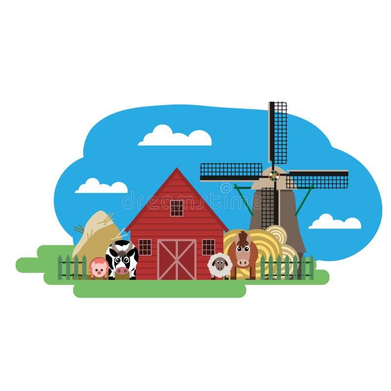 Vektorillustration des Bauernhofes lizenzfreie abbildung