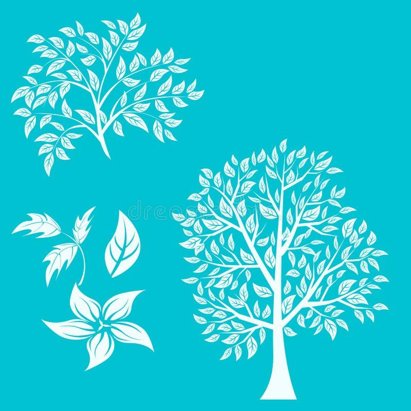 Vektorillustration des Baums auf weißem Hintergrund - vektor abbildung