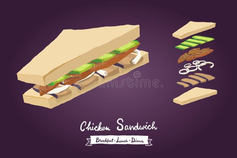 Vektorillustration des belegten Brots mit Hühnerfleisch stockfotos