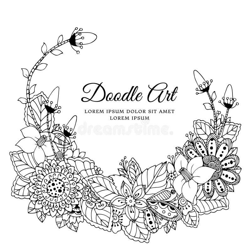 Vektorillustration des Blumenrahmens Zen Tangle Dudlart Malbuchantidruck für Erwachsene vektor abbildung