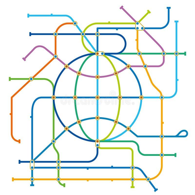 Vektorillustration des cosmo Stadtu-bahn-plans lizenzfreie abbildung