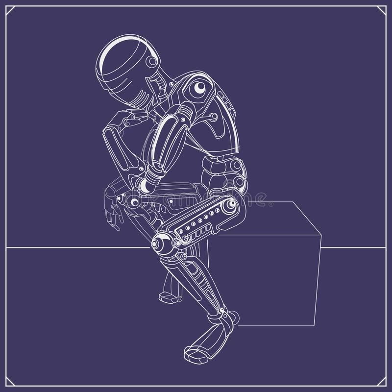 Vektorillustration des denkenden Roboters lizenzfreie abbildung
