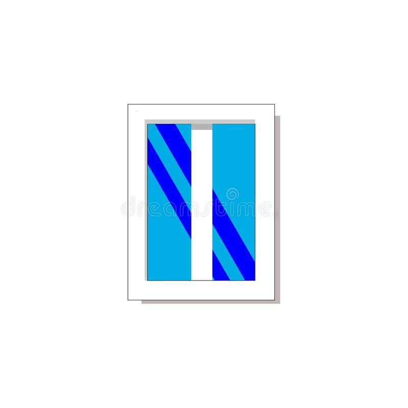 Vektorillustration des Fensters mit dem blauen Hintergrund lokalisiert auf Weiß stock abbildung