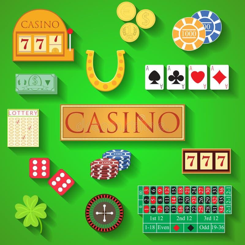 Vektorillustration des flachen Designs der Kasinoelemente moderne von Kasinoeinzelteilen, spielende Chips, Pokerkarten, Roulette, lizenzfreie abbildung