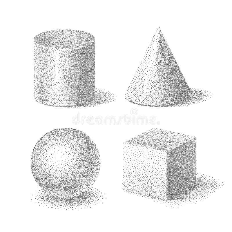 Vektorillustration des Formsatzes des Würfels, des Zylinders, des Bereichs und des Kegels mit körniger Halbtonbeschaffenheit au lizenzfreie abbildung