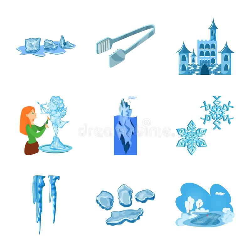 Vektorillustration des Frosts und des Wasserzeichens Sammlung des Frosts und der nass Vektorillustration auf Lager vektor abbildung