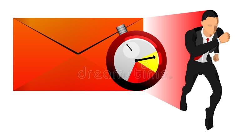 Vektorillustration des Geschäftscharakters, des Umschlags und der Zeitzieluhr das Thema von Arbeitsfristen EPS10 stock abbildung
