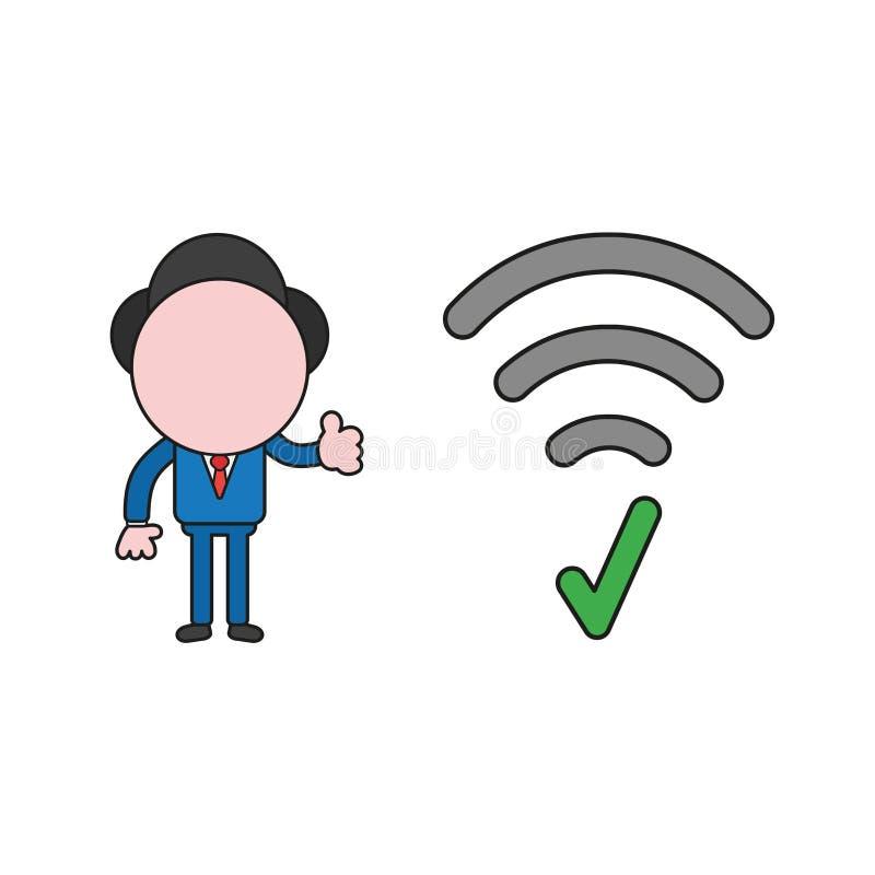 Vektorillustration des Geschäftsmanncharakters mit drahtlosem wifi Symbol mit Häkchen und den aufgeben Daumen Farbe und Schwarzes stock abbildung