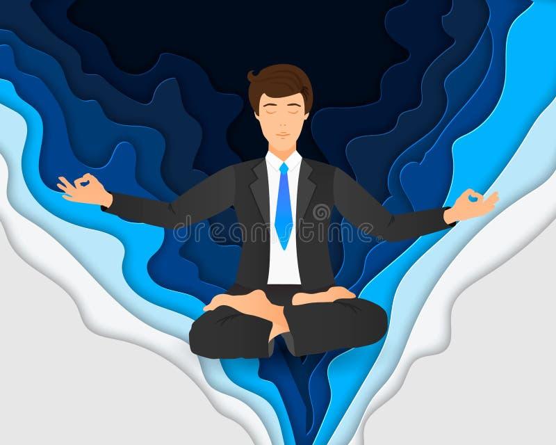 Vektorillustration des Geschäftsmannes sitzend in der Lotoshaltung Meditierender Büroangestellter auf träumerischem Mandalahinter stock abbildung