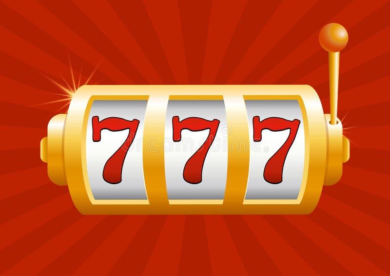 Vektorillustration des goldenen Spielautomaten gewinnt den Jackpot auf rotem Hintergrund Jackpot im Spiel, Sieger stock abbildung