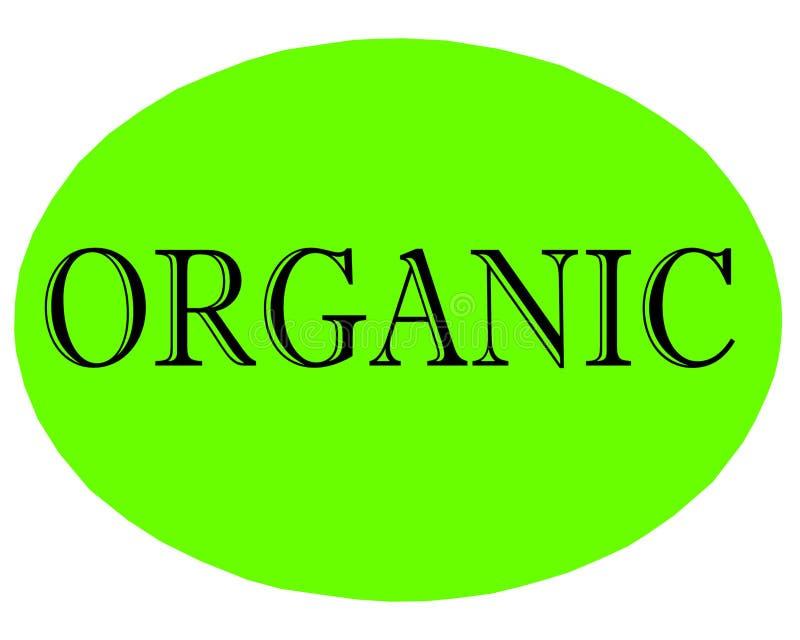 Vektorillustration des grünen organischen Aufkleberknopfes mit schwarzer Beschriftung auf weißem Hintergrund lizenzfreie abbildung