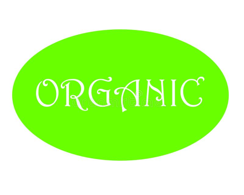 Vektorillustration des grünen organischen Aufkleberknopfes mit weißer Beschriftung auf weißem Hintergrund lizenzfreie abbildung