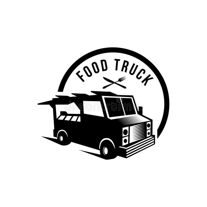 Vektorillustration des grafischen Ausweissatzes des Straßenlebensmittel-LKWs Altes Logodesign des Lebensmittels stock abbildung