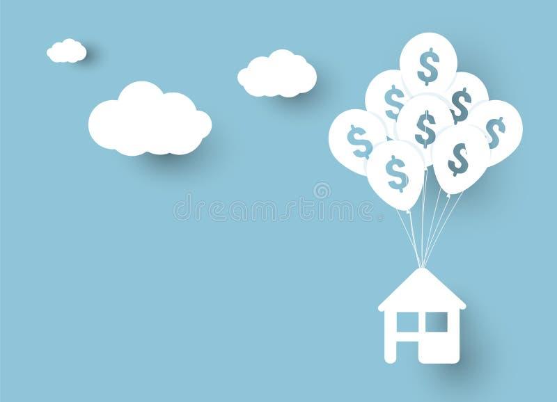 Vektorillustration des Hauses hängend an den Ballonen mit Zeichen des Dollars, über Hintergrund des blauen Himmels und Wolken mit lizenzfreie abbildung