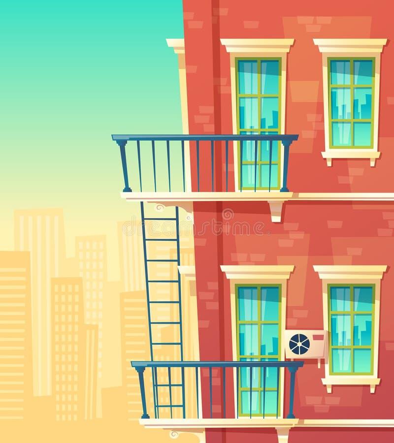 Vektorillustration des Hausfassadenelements stockbilder