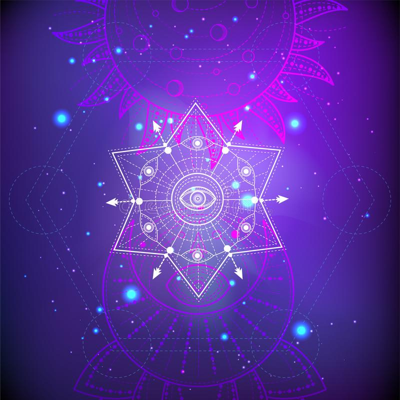 Vektorillustration des heiligen oder mystischen Symbols auf abstraktem Hintergrund Geometrisches Zeichen gezeichnet in Linien Pur vektor abbildung
