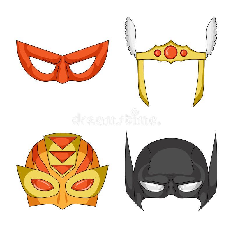 Vektorillustration des Held- und Maskenlogos Sammlung des Held- und Superheldaktiensymbols für Netz stock abbildung